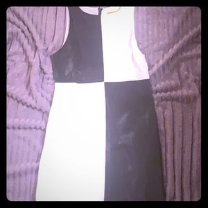 alice + olivia colorblocked leather-paneled dress